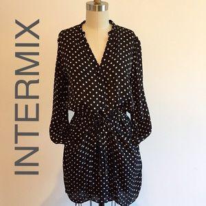 INTERMIX- Midi, Polka Dot Silk Dress - SZ S